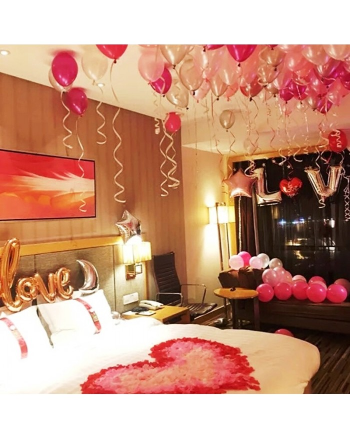 Romantic Room decoration with Rose Petals and 300 Balloons
