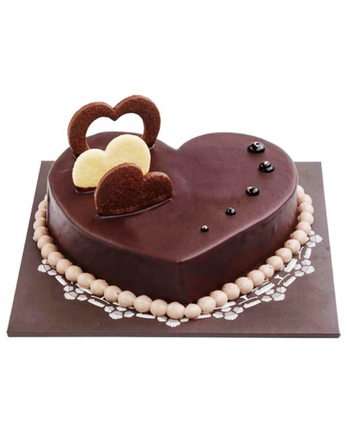 Heart Shape Chocolate Truffle Cake