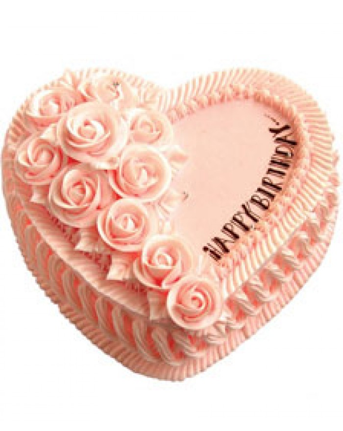 Heart Shape Strawberry Flower Cream Cake