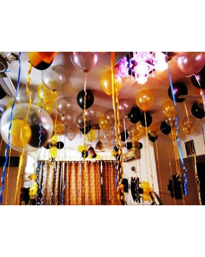 Classy Metallic Balloon decor with photographs