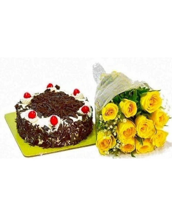 Black Forest cake with Yellow Roses Combo