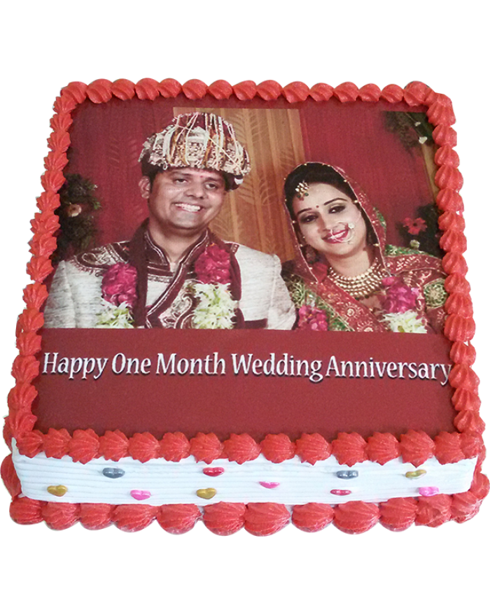 1st Marriage Anniversary Pineapple Photo Cake